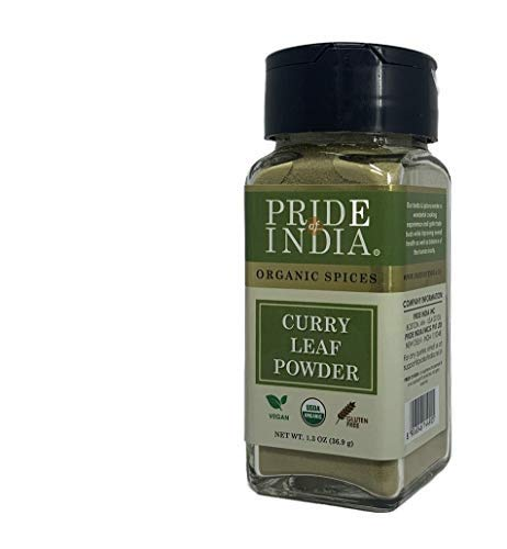 Pride Of India - Organic Curry Leaf Powder Ground - 1.3 oz (36.9 gm) Dual Sifter Jar - Used in Soups, Stews, Chutneys, Pilaf & more