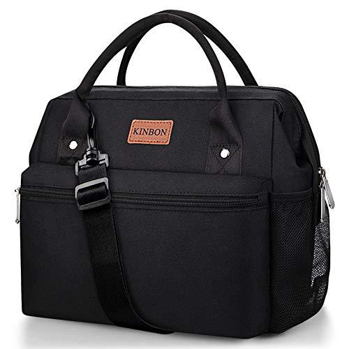 KINBON Lunch Bag Insulated Lunch Box for Women Men Reusable Lunch Bag with Adjustable Shoulder Strap Leak Proof Cooler Lunch Bag Water Resistant-Black