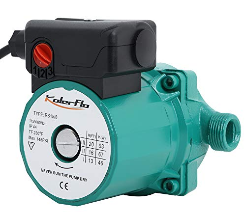 KOLERFLO Water Recirculating Pump 3/4 Inch Circulating Water Pump for Water Heater System (RS15-6 Green)