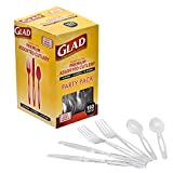 Glad Premium Assorted Plastic Cutlery   Clear And Extra Heavy Weight Forks, Knives, And Spoons  150 Piece Set of Disposable Party Utensils