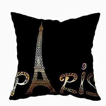 Capsceoll Art Pillow Case Paris with Eiffel Tower and Drawing Sketch Raster Gold White Isolated 20x20 Pillow Covers,Home Decoration Pillow Cases Zippered Covers Cushion for Sofa Couch