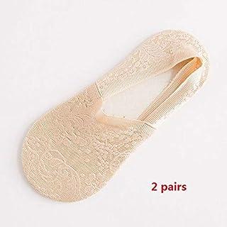 Calcetín de algodón para Mujer Calcetines de Verano para Mujer Calcetines Cortos de Flores de Encaje Calcetines de Tobillo Invisibles Antideslizantes Sox 2 Pares Calcetines de Color Rosa