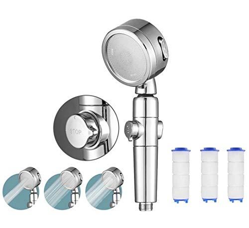 Wassersparend Duschkopf, Parkarma Duschkopf Handbrause mit 3PC Filterelement Wassersparend Hochdruck mit Druckerhöhung 40% Sparen 3 Strahlarten mit Stoppfunktion Shower Head für Baden und Spa (4PC)