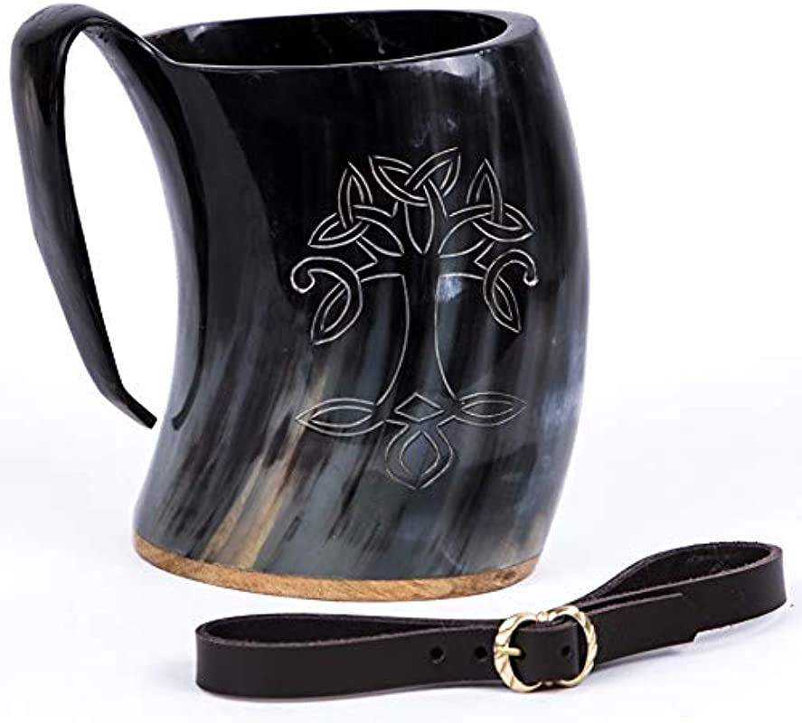 Mythrojan Viking Drinking Horn Tankard Tree Of Life With Leather Strap Wine Beer Mead Mug 600ML