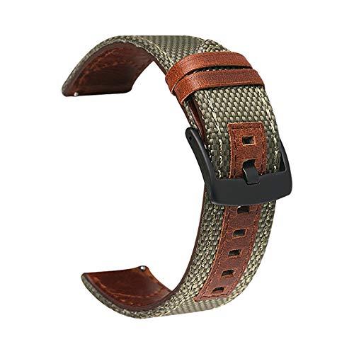 LAAGFC Correa de Nylon de Cuero Genuino 20 mm 22 mm 24 mm Banda de Reloj para Samsung Galaxy Watch Active2 Gear S2 S3 para Huawei GT 2 Amazfit BIP (Band Color : Army Green, Band Width : 24mm)