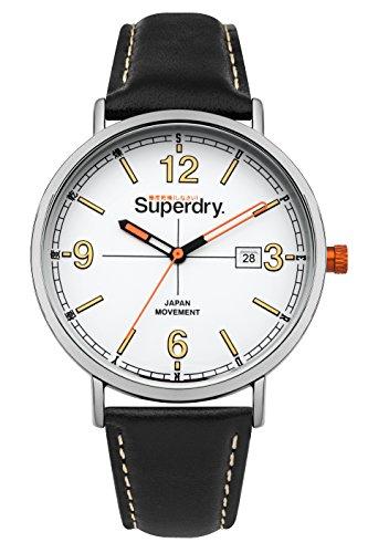 Superdry Unisex Erwachsene Analog Quarz Uhr mit Leder Armband SYG190B