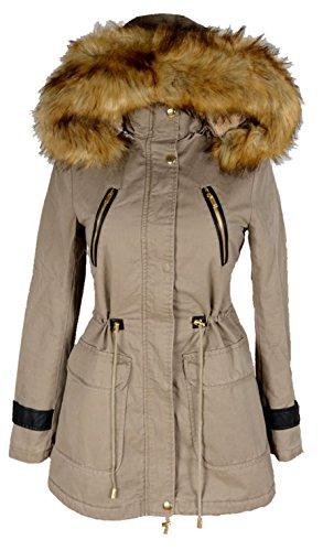 Italy Donna dames windbreaker winter capuchon militair parka warm met bont gevoerd jas mantel warm 36 38 40 42 44 S M L XL beige anorak winterjas