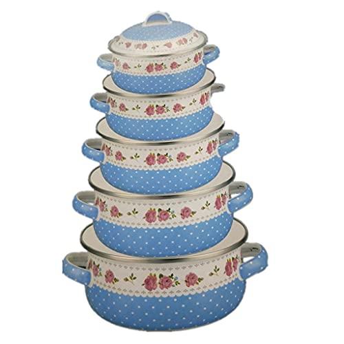 SHYOD Famiglia 5 Set di set di zuppa di smalto Pentole a induzione Casseruola Casseruola Casseruola Casseruola Hot Pot Zuppa Pentola Casseruola in ceramica (Color : Blue)