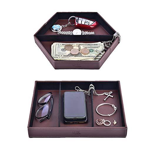 2 bandejas de valet de piel, para mesilla de noche, mesita de noche o aparador, organizador para joyas, llaves, monedas, mando a...