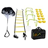 Yaegoo Speed Agility Training Set, Include 1 Resistance Parachute, 1 Agility Ladder with 4 Steel Stakes, 4 Adjustable Hurdles, 12 Disc Cones and a Storage Bag