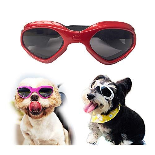 SymbolLife Sonnenbrille für Hunde Hundebrille Hundesonnenbrille Brille für Klein/Mittel Hund Faltbar Wasserdicht Augenschutz UV-Schutz Anti-Fog Verstellbar (Rot)