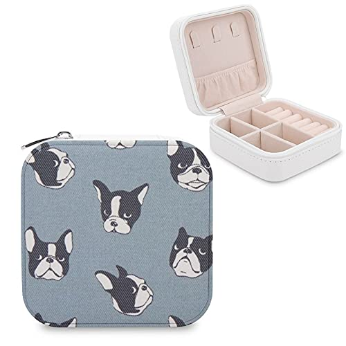 Kenaat Small Jewelry Box for Women, Blue Grey French Bulldog Travel Jewelry Organizer Portable Storage for Earring, Necklace, Bracelet, Rings,PU Jewelry Case for Womens Girls