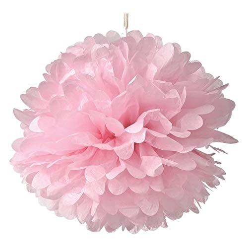 HEALLILY 10 Piezas 25 Cm Pompones de Papel Flores de Tejido de Color Papel Colgante Pompones Bola de Flores Doble Decoración de Techo Decoración de Pared Fiesta de Boda Decoración Al Aire Libre (Rosa)