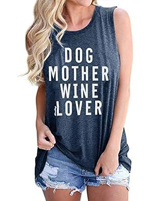 DUTUT Women's Summer Letters Print Sleeveless T-Shirt Dog Mother Wine Lover Tank Top