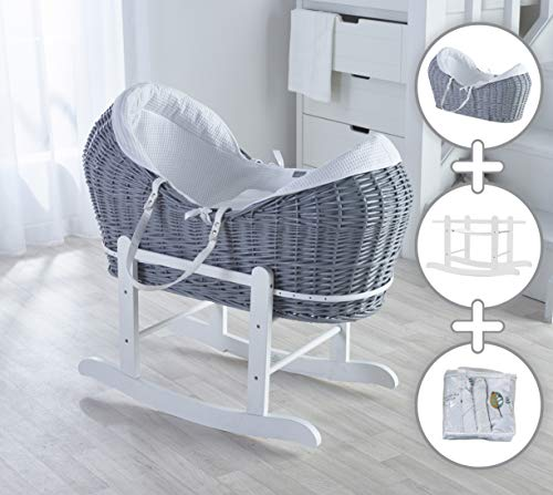White Waffle Grey Wicker Noah Pod Moses Basket with Deluxe White Rocking Stand and Three Little Birds Textile Bundle