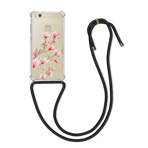 kwmobile Huawei P10 Lite Hülle - mit Kordel zum Umhängen - Silikon Handy Schutzhülle für Huawei P10 Lite - Magnolien Design Rosa Weiß Transparent