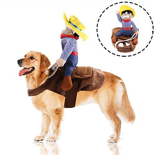 Fansu Kostüm Hund Haustier Hund Katze Kostüme, Einstellbare Cowboy Kleidung Netter Party Cosplay Dekoration Onkel Gelber Hut (XL,Brown)