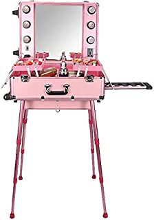 Lighted Mobile Makeup & Beauty Station Cosmetic Studio Case Pink