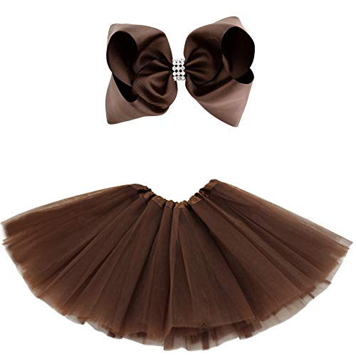 BGFKS 5 Layered Tulle Tutu Skirt for Girls with Hairbow and Hairties, Ballet Dressing Up Kid Tutu Skirt (Coffee, 2-8 Years Old)