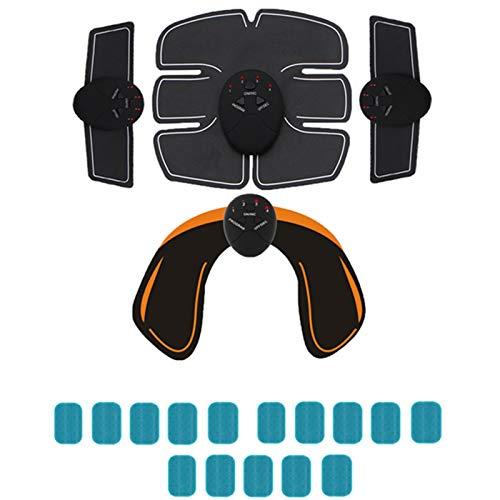 WEARRR 2021 EMS Estimulador de músculos inalámbricos Cinturón de Tono Abdominal Tóner Muscular Músculo Músculo Entrenador de Aptitud para Abdomen Brazo Pierna Unisex (Color : 6Pack 3in1 Hip 15Gel)