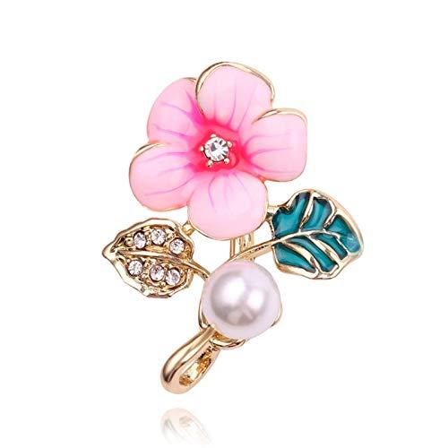 N-B Broche de Flor con Incrustaciones de Diamantes de imitación de Perlas con cúpula Blanca de imitación Broche Decorativo para Mujer