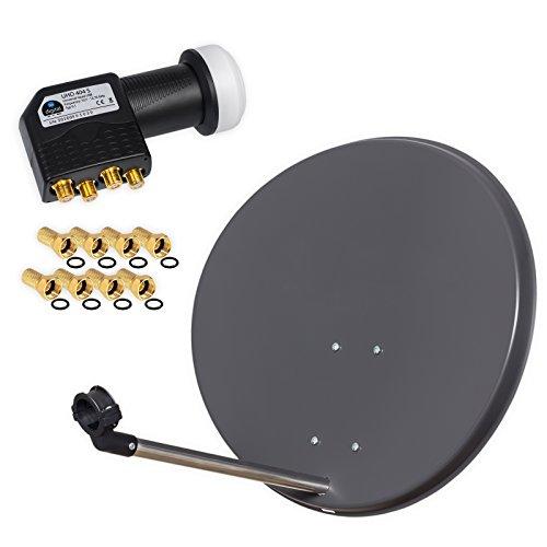 HB Digital 4 Teilnehmer Set - Skymaster SAT Anlage 60cm Spiegel Schüssel Anthrazit + Quad LNB zum Empfang von DVB-S/S2 Full HD 3D Ultra HD (UHD) Signale auf bis zu 4 Receiver + 8 Stecker