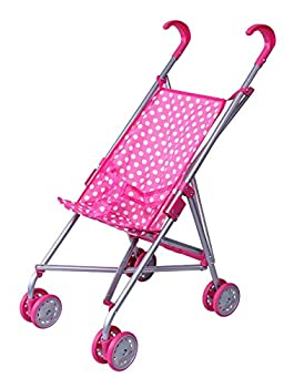 Precious Toys Pink & White Polka Dots Foldable Doll Stroller with swivel wheels