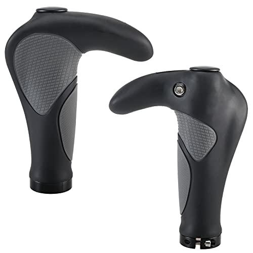 Amarine Made Bike Grip Ergonomic Shock Resistance Anti Slip Rubber Handlebar Grip for BMX MTB Bicycle Mountain Bike with Horns Ends Aluminum Alloy Rings Lock On