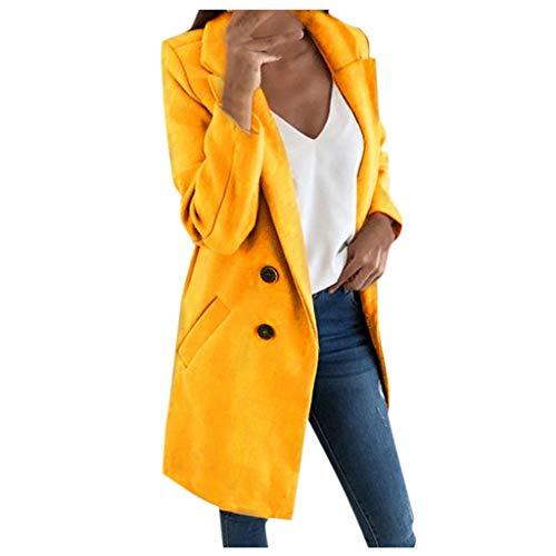 Abrigos de mujer de talla grande, Abrigo de lana largo de mujer Elegante mezcla Abrigos Slim Mujer Abrigo largo Abrigo Chaqueta de abrigo, forJacket Mujer Venta de invierno (Amarillo-4XL)