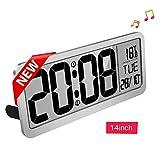 Reloj de pared digital grande-MQUPIN Reloj de pared LCD de escritorio de 14 '' con ajuste automático de hora Alarmas duales Volumen ajustable de temperatura para la oficina del dormitorio (Blanco)