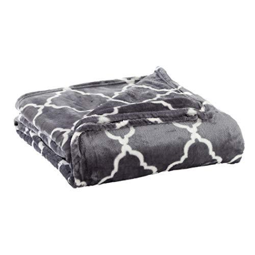 Home Fashion Designs Velvet Plush Soft Bed Blanket with Lattice Scroll Design (King, Steel Grey)