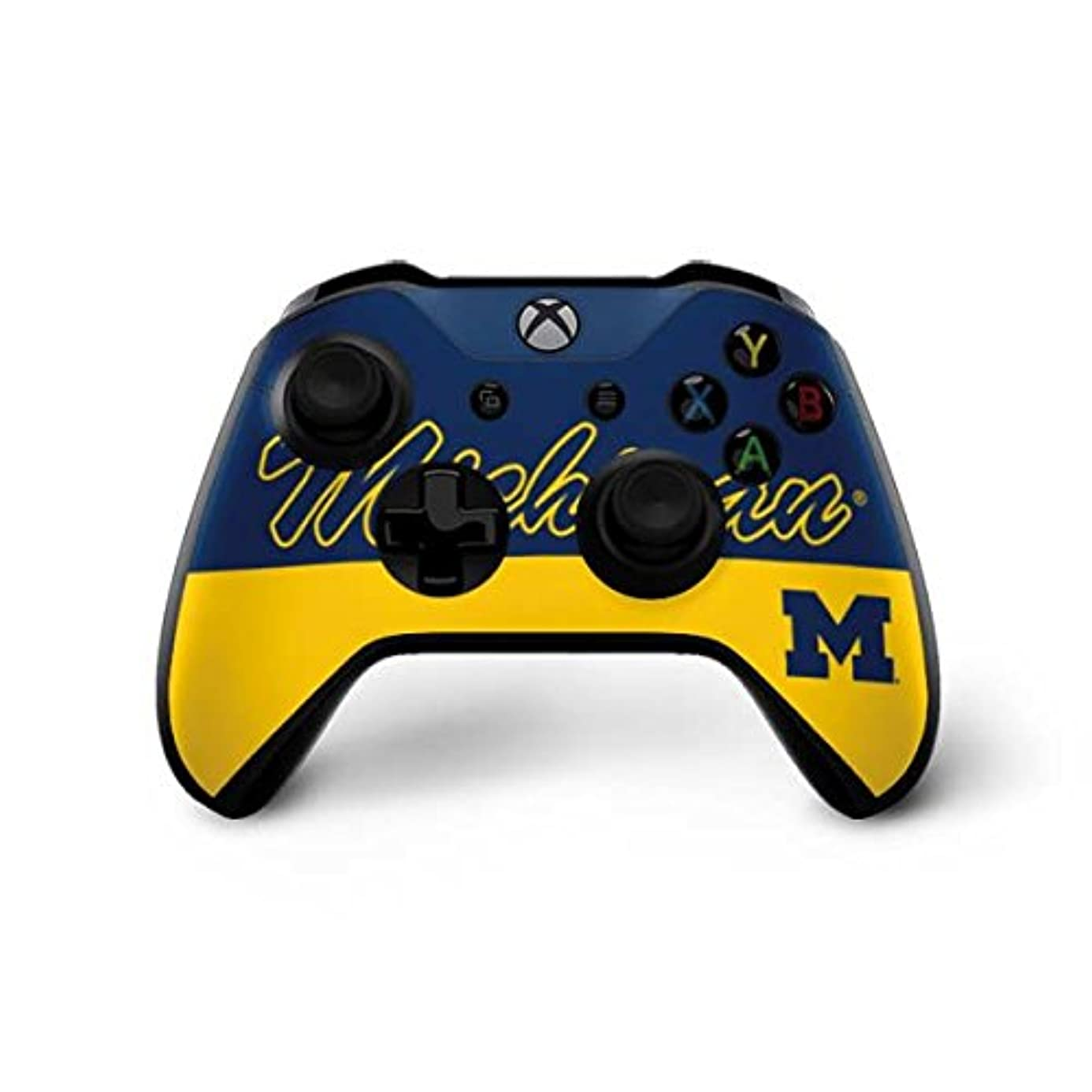 Skinit University of Michigan Split Xbox One X Controller Skin - Officially Licensed College Gaming Decal - Ultra Thin, Lightweight Vinyl Decal Protection