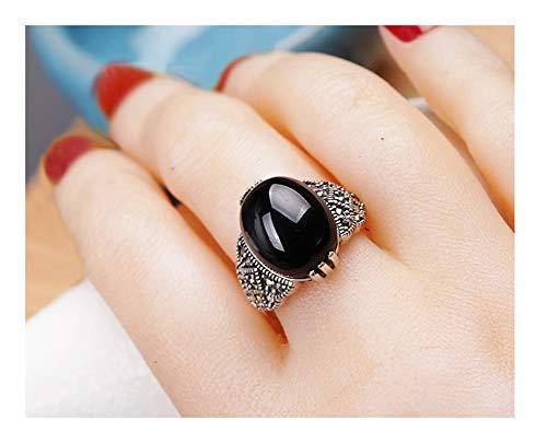 Anillo de plata de ley 925 con gemas redondas para mujer, ajustable, para boda, compromiso, aniversario, regalo premium, color rojo, negro, verde, 123, negro, Size