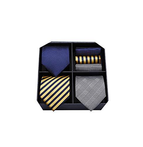 HISDERN Los 3 PCS Classic Elegant Herren Seidenkrawattenset Krawatte & Einstecktuch - Mehrfachset