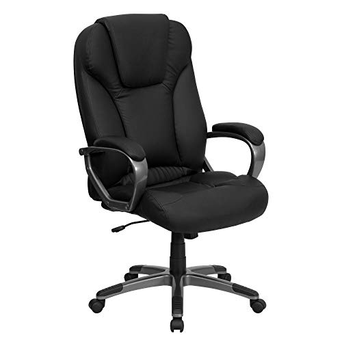 Flash Furniture High Back Black LeatherSoft Executive Swivel Office Chair with Titanium Nylon Base and Arms, BIFMA Certified