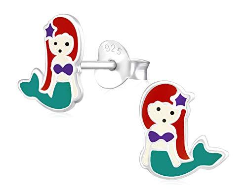 Laimons Mädchen Kids Kinder-Ohrstecker Ohrringe Kinderschmuck Meerjungfrau Seejungfrau Fischfrau Grün Braun aus Sterling Silber 925