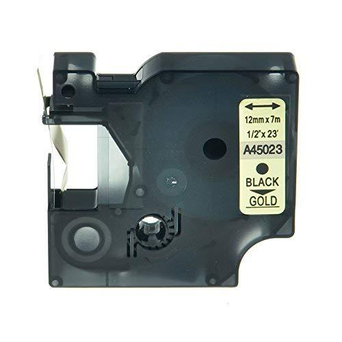 Aftertech® 45023 zwart op goud compatible D1 cassette spanband 12 mm