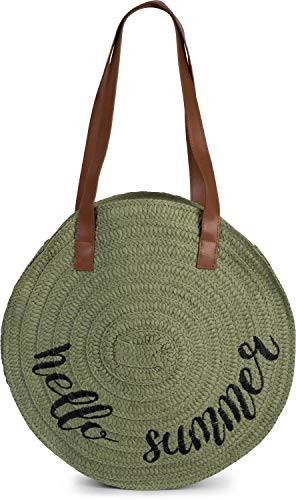 styleBREAKER Damen runde Korbtasche mit gesticktem 'Hello Summer' Spruch und Reißverschluss, Strandtasche geflochten, Schultertasche 02012288, Farbe:Oliv
