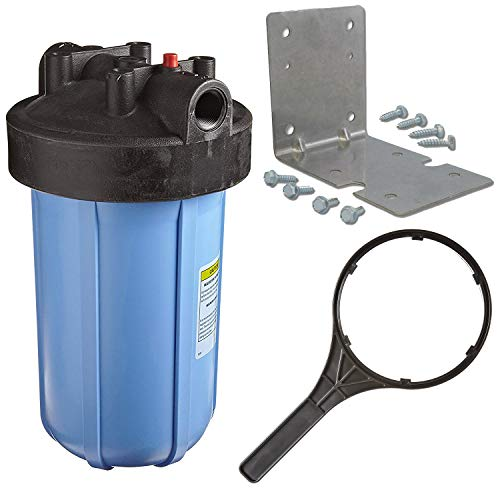 Pentek 1' Threaded 10' Genuine Big Blue Filter Housing Kit | Complete with Bracket, Screws and Wrench (150237 150061 150296)