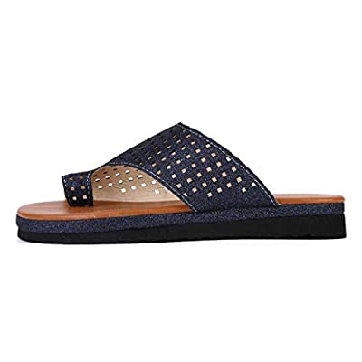 Loosebee Women's Summer Wedges Platform Sandals Fashion Toe Slippers Super Comfort Toe Ring Flat Sandals