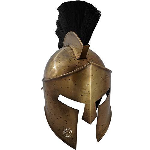 Hind Handicrafts Casco romano de hierro medieval griego Corinthian Spartan 300 – King Leonidas adulto – Forro de cuero ajustable – LARP, Halloween & Role Play