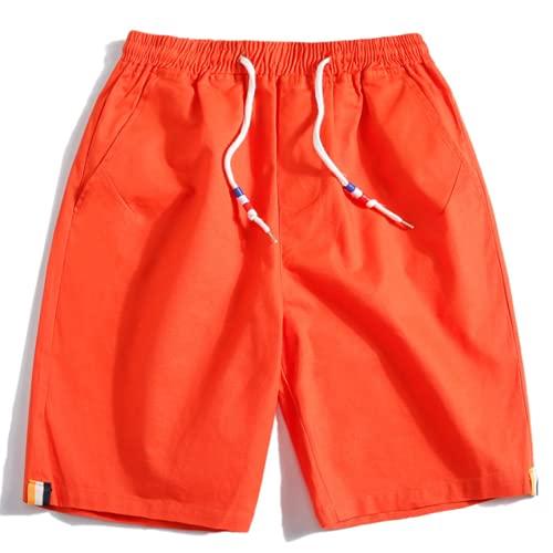 Pantalones Cortos de Talla Grande para Hombre, Color sólido, Cintura elástica, Tendencia Informal, Ropa de Calle Holgada a la Moda, Pantalones Cortos Rectos Finos XXL