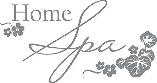 GRAZDesign 650149_30_074 Wandtattoo Wellness Home Spa - Fliesen-Tattoo-Aufkleber für Badezimmer/WC/Kosmetikstudio (57x30cm // 074 Mittelgrau)