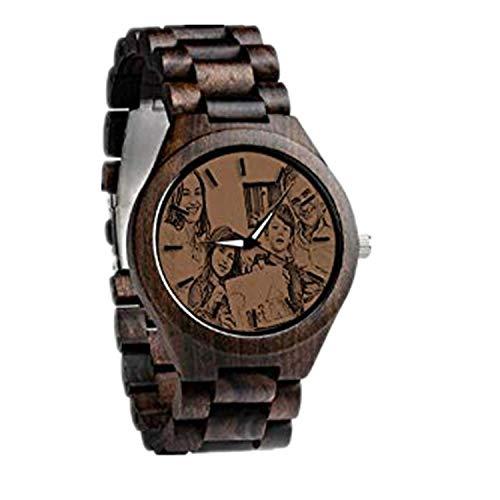 Relojes de Madera, Grabado Foto Regalo Novio Padre Aniversario de Boda para Hombres(marrón 1.57in (40 mm) -Hombres)