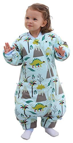 Chilsuessy Babyschlafsack für Neugeborene Winter Kinder Schlafsack mit Füßen Baby Schlafstrampler Abnehmbare Ärmel Ganzjahresschlafsack für Babys, Blau Dinosaurier/3.5 Tog, 115cm/Baby Höhe 120-130cm