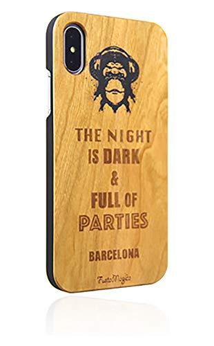 FustaMàgica - Cover in legno per iPhone 7 DJ Monkey Wooden iPhone i7 DJ Monkey Case, compatibile con iPhone 6, 7 e 8, Ispirato a The Night Party of Barcelona and Game of Thrones.