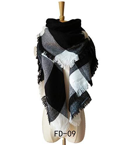 WLM großer Karierter Schal, bunter Plaidschal, doppelseitiger Plaidschal, Latzschal,Schwarz + Weiß,Einheitsgröße