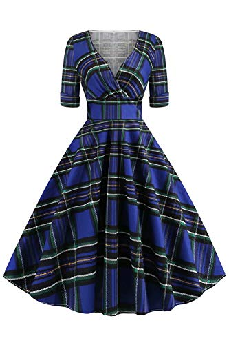 BABYONLINE D.R.E.S.S. Flare Retro Floral Printed Rockabilly Ladies Dresses for Church,BluePlaid,2XL