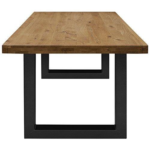 COMIFORT Mesa de Comedor - Mueble para Salon Oficina Despacho Robusto y Moderno de Roble Macizo Color Ahumado, Patas de Acero U-Forma Grafito (220x100 cm)