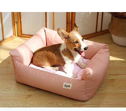 Cama Perro Gato Pequeño Cama Mascota Felpa Sofa Suave Cachorro Animales Domésticos Invierno, Cómoda y Lavable -Polvo de Morandi_L tamaño 75 * 65 * 23